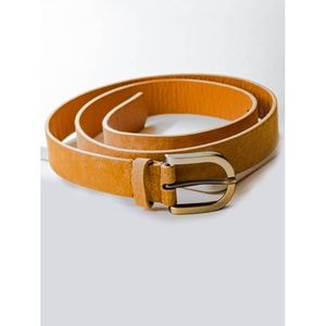 Accessories - •||NEW||• BRASS BUCKLE FAUX LEATHER BELT – CAMEL